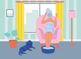 uma jovem com uma máscara cosmética no rosto está sentada em uma cadeira. o conceito de home spa, vida diária, lazer diário e atividades de trabalho. ilustração em vetor plana dos desenhos animados.