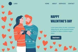 modelo de vetor de página de destino de feliz dia dos namorados. abraços de casal amoroso. um encontro, um homem e uma mulher apaixonados celebram. ilustração vetorial plana