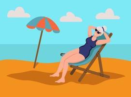 mulher idosa tomando banho de sol na praia. o conceito de velhice ativa. dia do idoso. ilustração em vetor plana dos desenhos animados.