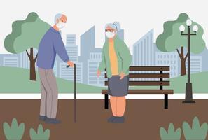 Eldery em máscaras protetoras anti-poeira wolk no parque. proteção da poluição do ar urbano, smog, vapor. quarentena de coronavírus, conceito de vírus respiratório. ilustração em vetor plana dos desenhos animados.