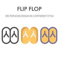 pacote de ícones de flip-flops isolado no fundo branco. para o design do seu site, logotipo, aplicativo, interface do usuário. ilustração de gráficos vetoriais e curso editável. eps 10. vetor