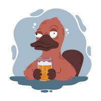 ornitorrinco bêbado com um copo de cerveja. bico de pato engraçado no bar. vida selvagem australiana. ilustração dos desenhos animados do vetor isolada no fundo branco.