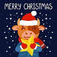 touro com uma estrela amarela. símbolo do boi do ano novo chinês 2021. cartão de feliz Natal, design de cartaz. ilustração vetorial com fundo de personagem bonito isolado. mão desenhada rotulação citação.