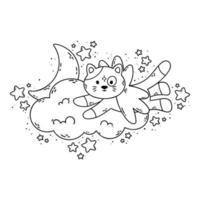 o gato com asas voa além da nuvem, da lua e das estrelas. ilustração vetorial para livro de colorir isolado no fundo branco. boa noite foto do berçário.