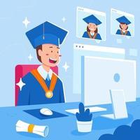 cerimônia de formatura na plataforma online vetor