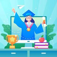 cerimônia de formatura no conceito de plataforma online vetor