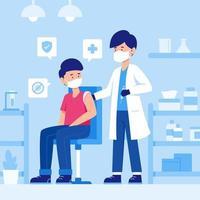 pessoas recebendo vacina com médico vetor