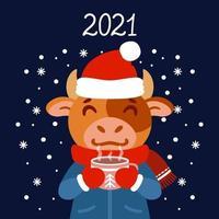 o touro com uma xícara de chá em roupas de inverno. boi com um cacau parado na neve. o símbolo do ano novo chinês 2021. cartão com um mouse para o ano novo e o Natal.