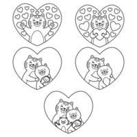 gatos família mãe, pai, filho e bebê recém-nascido abraço no coração. Tomcat abraça um coração. conjunto de elementos adoráveis. ilustração vetorial isolada no fundo branco. esboço de imagem para colorir. vetor