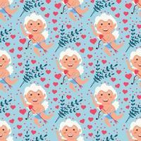 Valentine Cupido amor anjo padrão sem emenda. menino bonito ou cupido de menina. anjo voador vetor