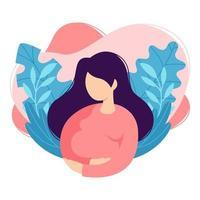 mulher grávida toca a barriga. senhora esperando criança acaricia sua barriga. futura mãe. desenho animado, saúde, cuidados, maternidade, parentalidade. ilustração vetorial no fundo branco, em moderno estilo simples. vetor