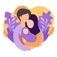 mãe muçulmana e pai segurando seu bebê recém-nascido. casal islâmico de marido e mulher tornam-se pais. homem abraçando mulher com criança. maternidade, paternidade, parentalidade. ilustração vetorial plana. vetor