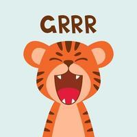 rugido de boca aberta plana bonito tigre. estilo escandinavo moderno. ilustração em vetor personagem animal dos desenhos animados isolada no fundo. imprimir para roupas infantis, decoração de berçário, cartaz, avatares engraçados.
