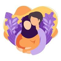 futuros pais muçulmanos, homem e mulher, estão esperando um bebê. casal islâmico de marido e mulher se tornam pais. homem abraçando uma mulher grávida com barriga. maternidade, paternidade. vetor plano.