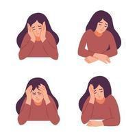 uma mulher está com dor de cabeça. menina sente ansiedade e depressão. conceito de saúde psicológica. nervoso, apatia, tristeza, pesar, infeliz, desesperado, enxaqueca. ilustração vetorial plana. vetor