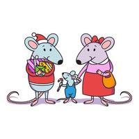 família de ratos de natal. pai com presentes, a mãe segura uma criança pela mão, um garotinho com um pirulito. ratos de feliz ano novo chinês. ilustração vetorial para impressão, cartaz, calendário, cartão, lembranças. vetor
