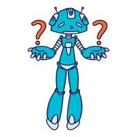 confuso robô azul fazendo uma pergunta. ilustração vetorial isolada no fundo branco.