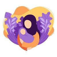 mãe muçulmana segura o bebê nos braços. mulher embala um recém-nascido. desenho animado, saúde, cuidados, maternidade, parentalidade. ilustração vetorial, isolada no fundo branco, em moderno estilo simples. vetor
