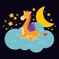 poster bonito com girafa, lua, estrelas, nuvem em um fundo escuro. impressão do vetor para o quarto do bebê, cartão comemorativo, crianças e camisetas e roupas de bebê, as mulheres usam. mão desenhada ilustração de berçário.