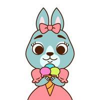 coelho com um laço na cabeça em um vestido rosa com sorvete. imprimir para cartão de felicitações, decoração de berçário. ilustração em vetor cartoon personagem animal solated no fundo branco.