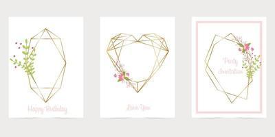 moldura poligonal de ouro com flores de triângulos de glitter dourados vetor