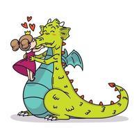 pequena princesa beija um dragão no nariz. ilustração de crianças de conto de fadas. cartão de feliz dia dos namorados.