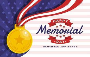 fundo do conceito de medalha do dia do memorial vetor