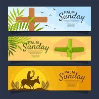 coleção de banner palm domingo vetor