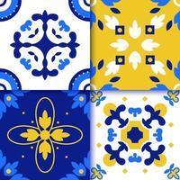 azulejos portugueses padrão de piso de ladrilho vetor