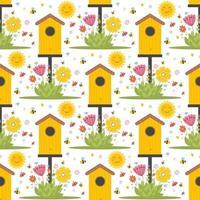 Padrão sem emenda de primavera de Páscoa com animais fofos, pássaros, abelhas, borboletas. vetor