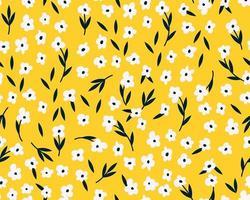 padrão sem emenda de primavera com flores bonitos. têxteis de flora de verão desenhada à mão vetor