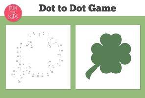 jogo de trevo ponto a ponto para crianças de ensino doméstico. página para colorir para a educação de crianças. vetor