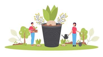 conceito de reflorestamento de primavera. restauração florestal, reflorestamento, plantio de árvores, dia do meio ambiente. vetor
