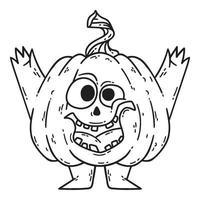Halloween sorrindo abóbora com mãos e pernas. vetor