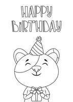 cartão de aniversário com um gato e letras de mão desenhada. vetor