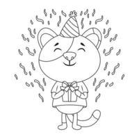 cartão de aniversário com um gato. vetor