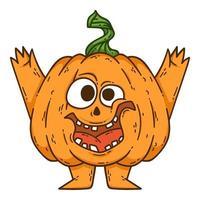 Halloween sorrindo abóbora com as mãos, pernas e chapéu de bruxa. vetor