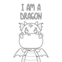 cartaz com dragão fofo e citação de letras de mão desenhada - eu sou um dragão. impressão de berçário para cartazes de criança. ilustração vetorial no fundo branco. vetor