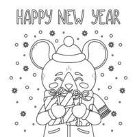 impressão vetorial de feliz ano novo 2020 com rato bonito. vetor