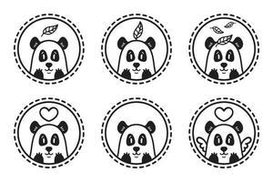 conjunto de emblemas, ícones, etiquetas de panda. vetor