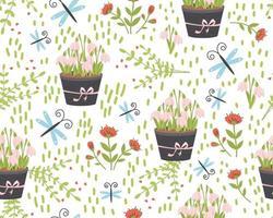 padrão sem emenda com flores bonitos. têxteis de flora de verão desenhada à mão vetor