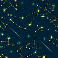 Padrão sem emenda de constelações do Zodíaco. espaço vetorial e ilustração das estrelas. vetor