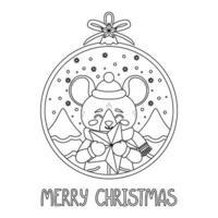 bola de Natal com a imagem de um rato segurando uma estrela. vetor
