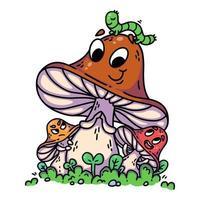 cogumelos bonitos dos desenhos animados na grama verde com a lagarta. vetor