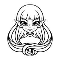 retrato de menina vampira. ilustração de halloween para cartazes e adesivos. ilustração vetorial isolada no fundo branco. esboço, desenho em preto e branco. vetor