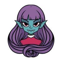 retrato de menina vampira. ilustração de halloween para cartazes e adesivos. ilustração vetorial isolada no fundo branco. vetor