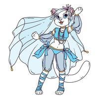 gato bonito mulher dançarina do ventre. vetor