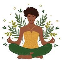 mulher afro-americana sentada em posição de lótus. a menina pratica ioga entre as folhas. ilustração vetorial plana