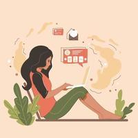 a garota se senta em um laptop e faz compras online. uma jovem está enviando mensagens de texto, lendo e-mail. ilustração do vetor de tendência