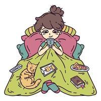 menina descansando na cama. vetor